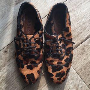 SCHUTZ leopard leather oxford style women's shoes